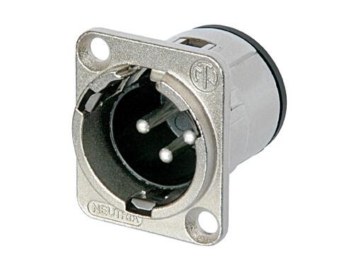Silver Metal Neutrik Connector XLR Male chassis mount